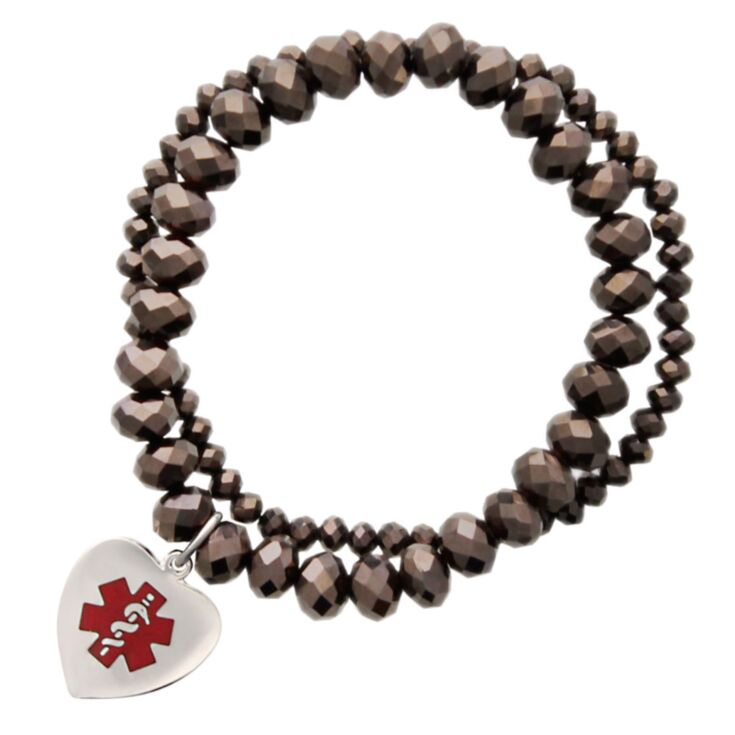 allure medical id bracelet featuring chocolate colored glass pearls and a sterling silver charm