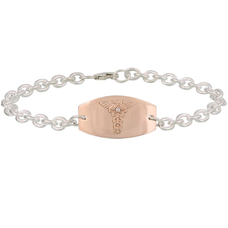 prestige rosegold medical id bracelet for teens, adult with rose gold medical id plate, diamond accent, sterling silver chain