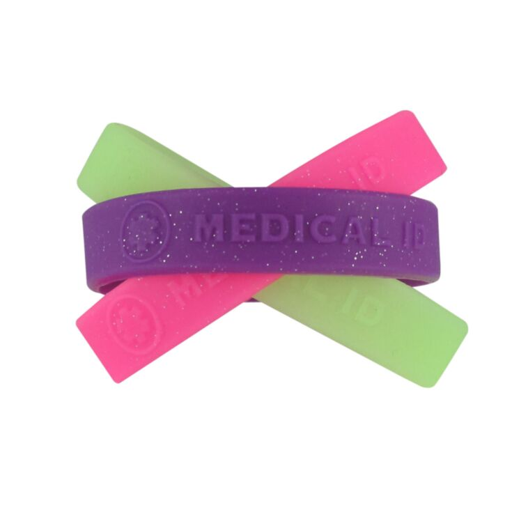 """sparkling, colorful, silicone medical id bands for kids in purple, pink, and glow in the dark, 6"""", 7"""" sizes available for use with engraved id plate"""