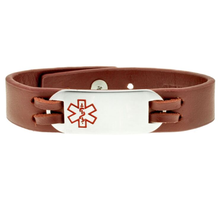Rugged style leather medical ID bracelet in rust and earth tone. Comes with stainless steel plate for engraving medical information.