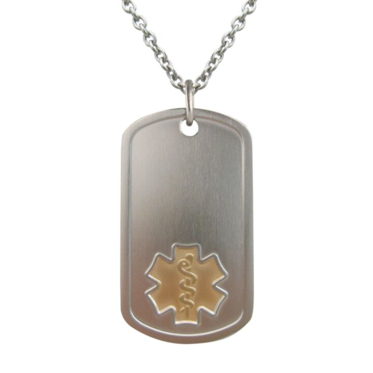 titanium dog tag medical id plate with embossed medical symbol in gold, hypoallergenic and lightweight titanium oval chain