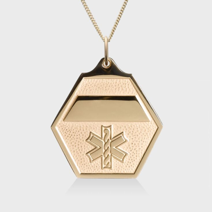 Attractive gold classic medical id necklace with gold hexagon shape