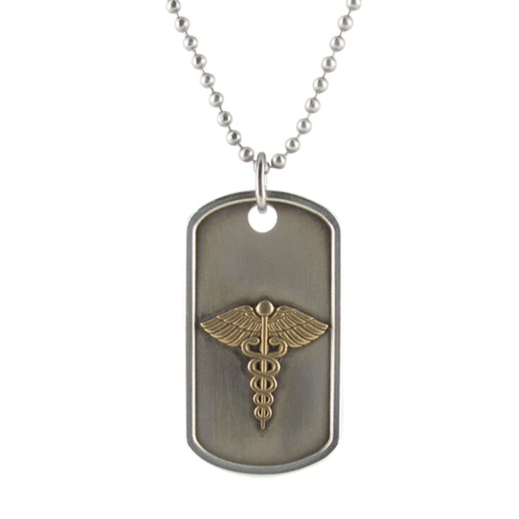 Odyssey Dog Tag with Silver Bead Chain