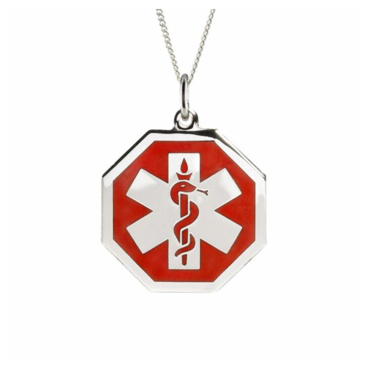 hexagon medical id pendant with bold and widely recognized medical emblem