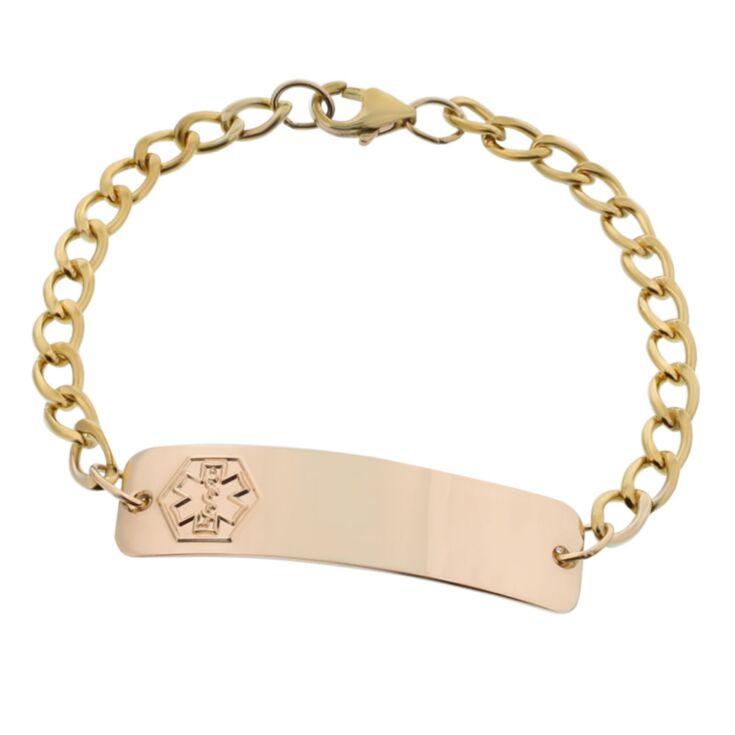 Gold medical ID bracelet, engraved gold medic ID alert, gold clasic medic alert ID