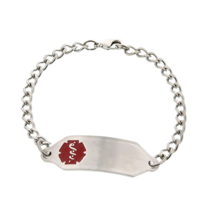 classic, small stainless steel medical id bracelet with curb style chain, suits kids, toddlers or teens, with red medical emblem
