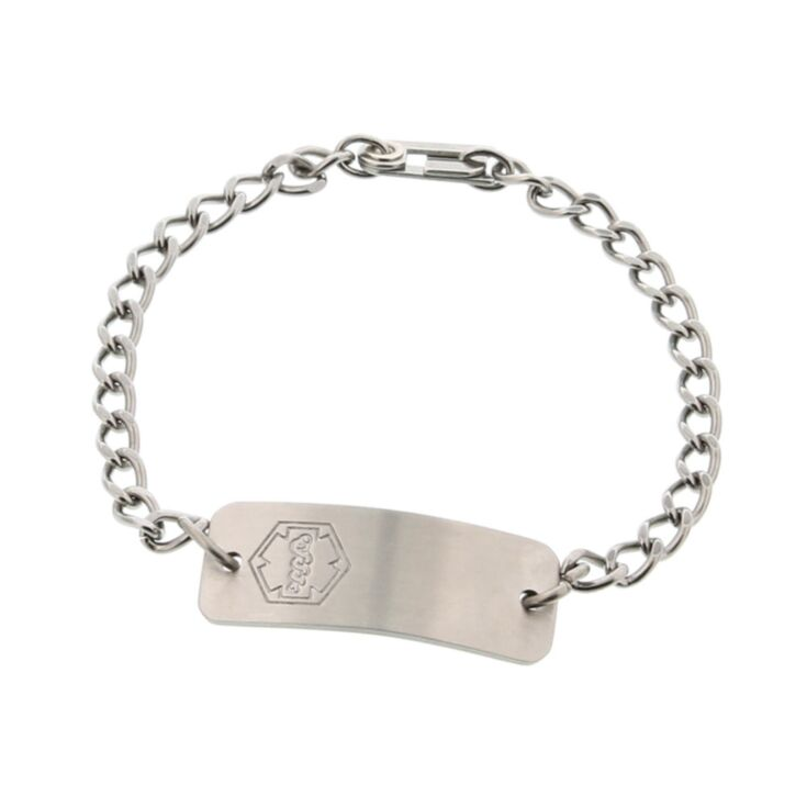 petite stainless steel medical id bracelet classic style, for kids and wearers with small sized writs, curb chain suitable for kids and toddlers