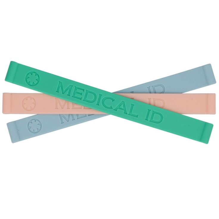 Pastel color silicone medical ID bands in blue, pink, and green seaside colors with embossed medical emblem