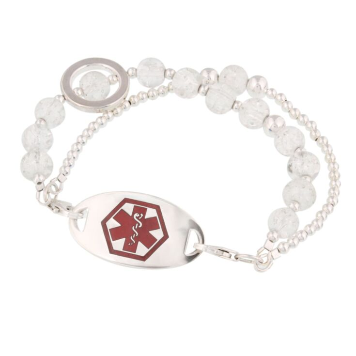 multistring crystal medical alert bracelet with stylish silver plated and crackled glass beads