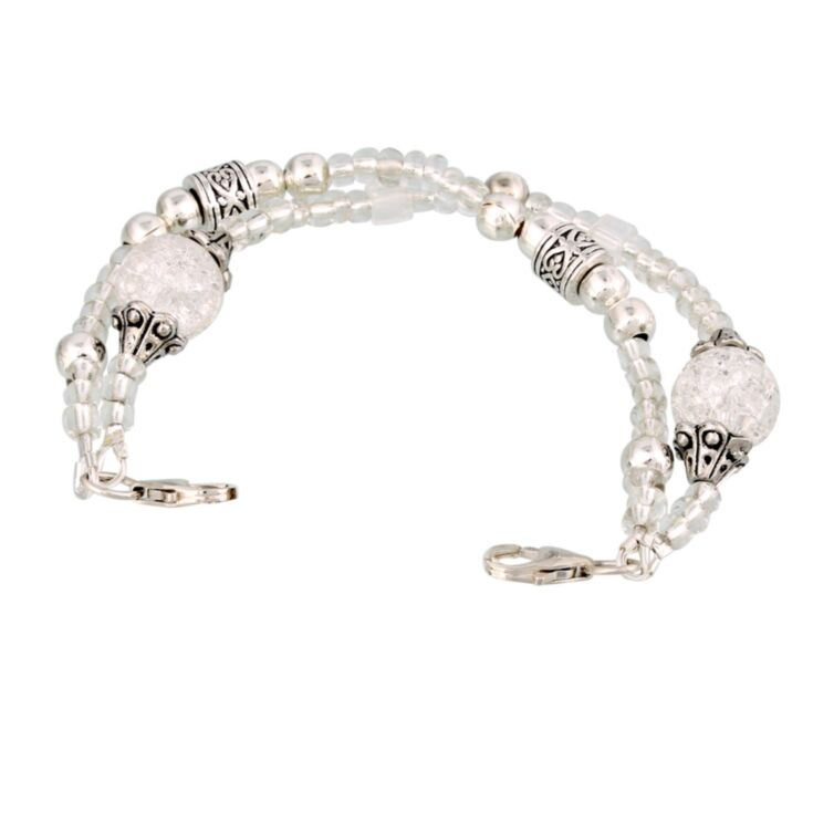 vintage style, fashionable medical alert bracelet with crystal, silver tone accent beads, handmade design