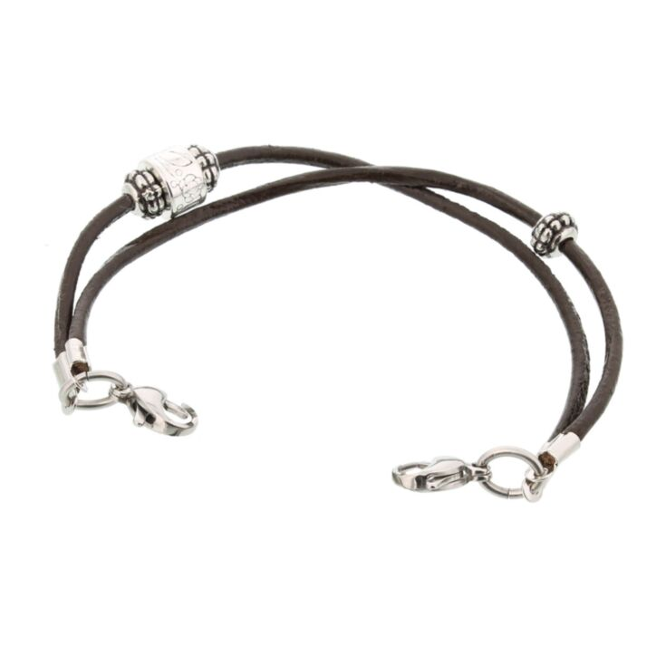 contemporary style leather cord bracelet for medical ID with antique style beading, fashionable and interchangeable design