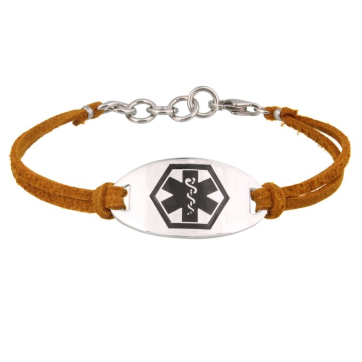 "cinnamon suede medical id bracelet with sterling silver id plate, 7"" and 8"" sizes, for women, teens, adult"