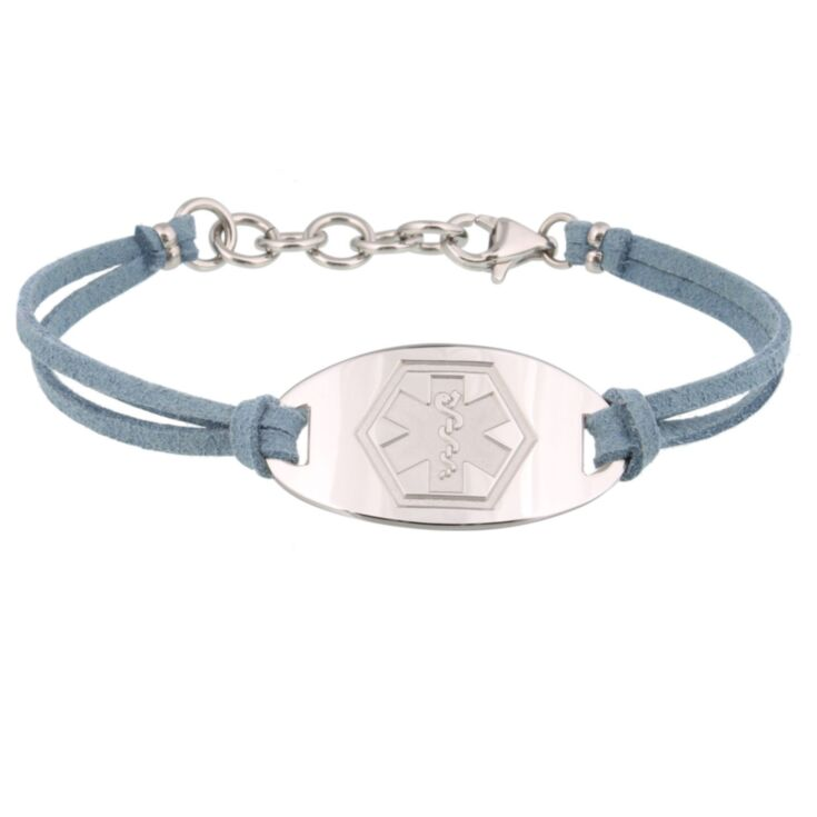 gray faux suede band medical id bracelet with sterling silver or stainless steel engraved medical id plate for teens, adults