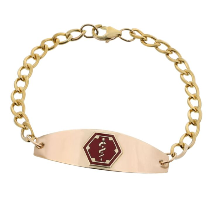 women's or men's gold chain medical id bracelet with gold plate and red medical emblem design