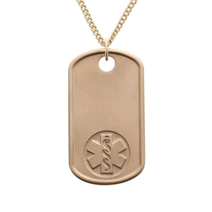 elegant gold dog tag military style medical id necklace with blue medical emblem design