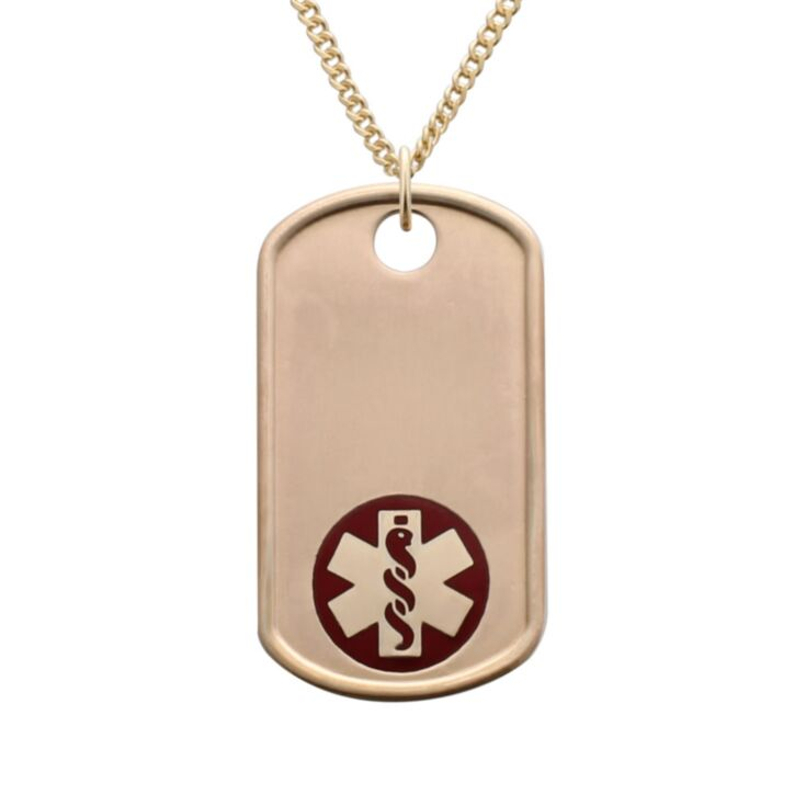 gold military style dog tag medical id pendant