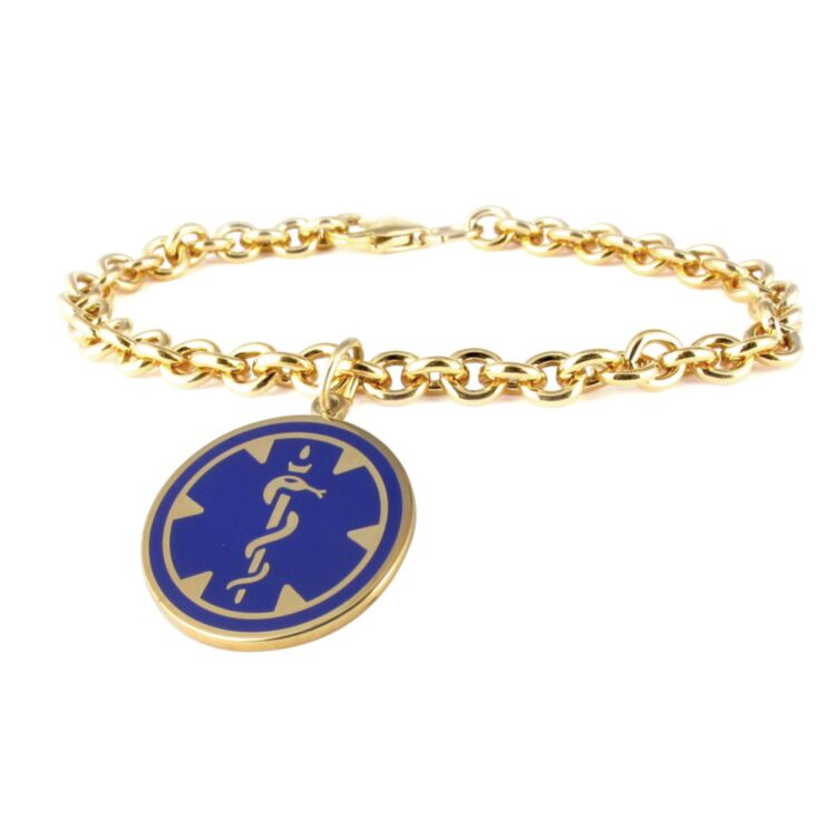 Gold medical id round charm bracelet for women with embossed or blue medical emblem