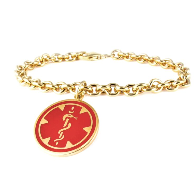 10ct Rolled Gold Medallion Red Charm Bracelet