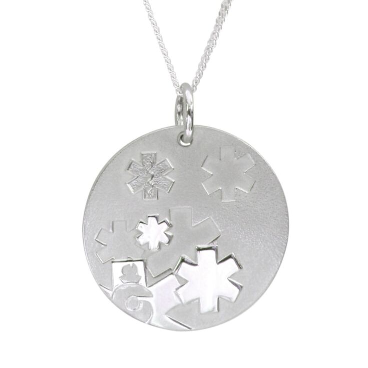 sterling silver curb chain medical id necklace for women with contemporary, modern design