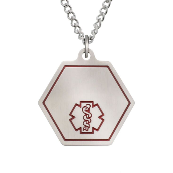 classic medical id necklace with hexagon pendant featuring red medical emblem, stainless steel curb neck chain