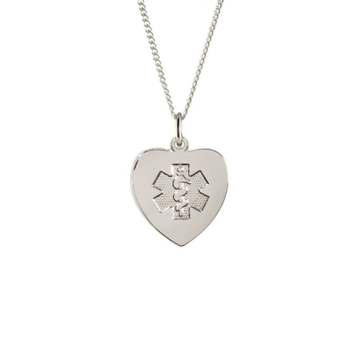 sterling silver medical id necklace for women with heart-shaped pendant, embossed medical emblem