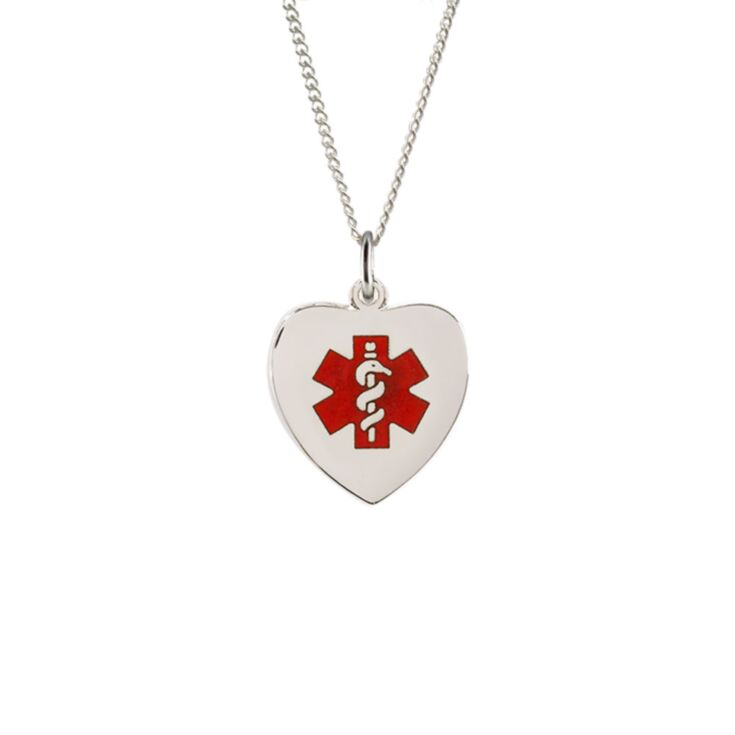 Sterling Silver Heart Red Charm Necklace