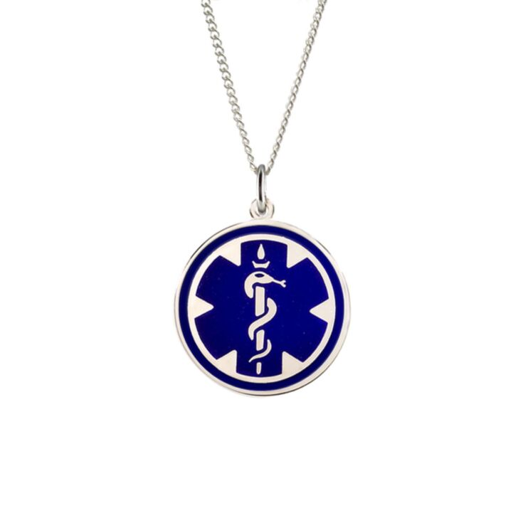 sterling silver medical id necklace for men and women with blue enamel, round medical emblem medallion