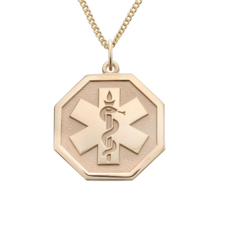 unisex gold and octagon shape pendant for medical id necklace