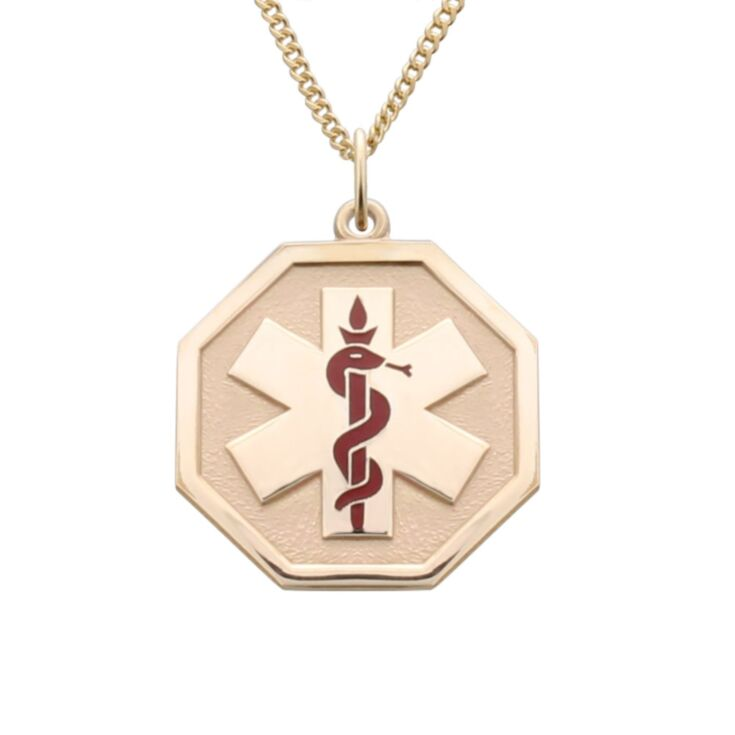 elegant unisex gold medical id necklace