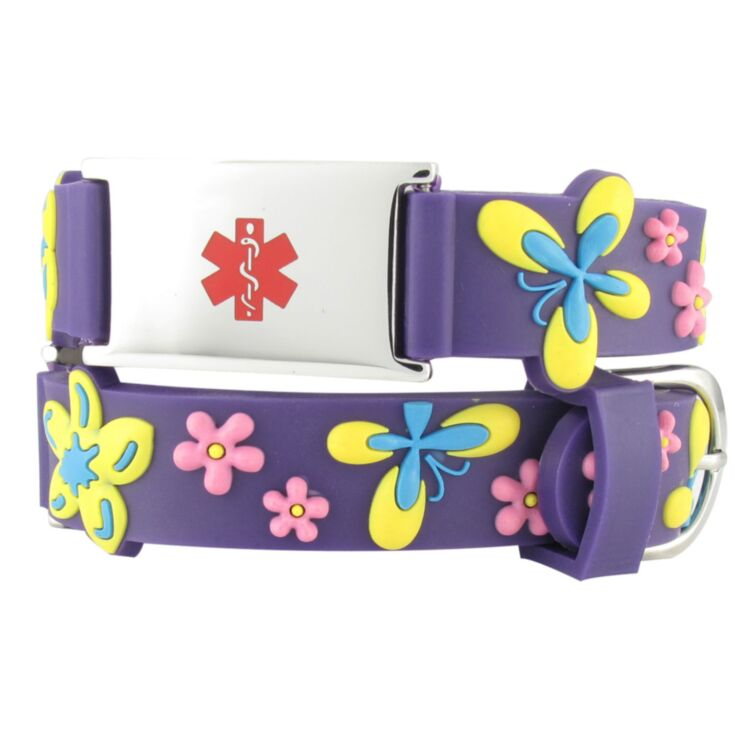 kids floral and butterfly medical id bracelet, purple, yellow, and pink, silicone band with stainless steel plate