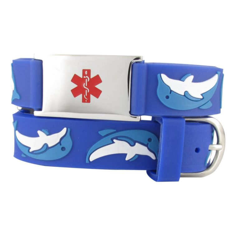 kids dolphin silicone medical id band, blue color with cute dolphin characters and stainless steel plate