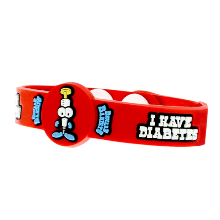 red medical id for kids with diabetes featuring buckshot bob character, silicone bracelet with fun design