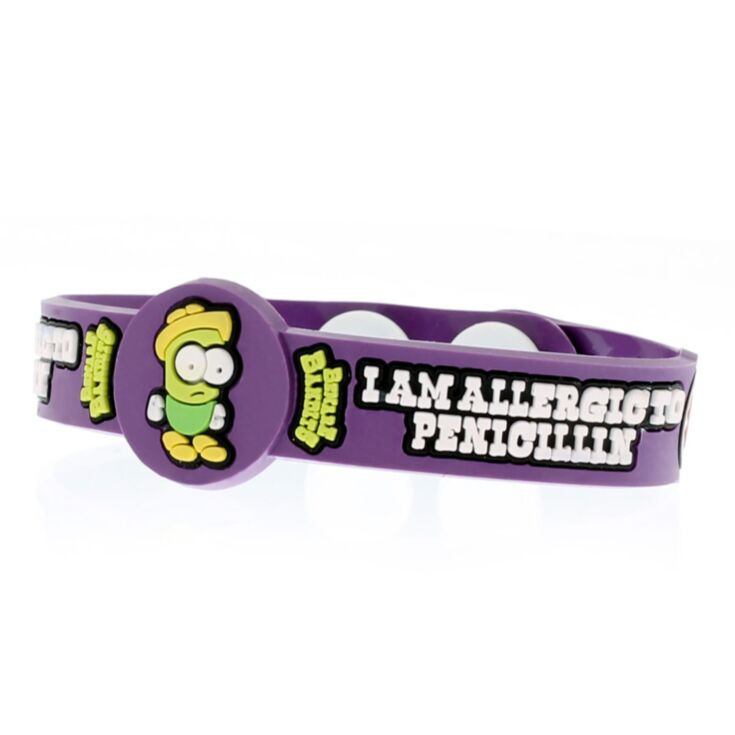 i am allergic to penicillin medical id bracelet for kids with fun character, dr. penny on purple silicone band