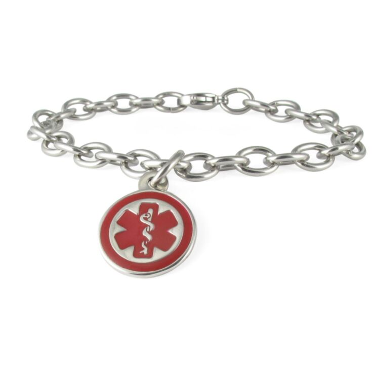 Mini Pendant Charm Bracelet with Stainless Steel Cable Chain and Claw Clasp, Round Medical Emblem Charm in highly visible red color