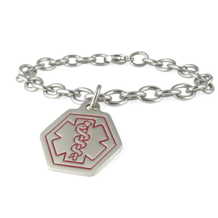 Standard Cable Chain with Small Classic Hexagon Charm, Stainless Steel Charm with Medical Emblem Design