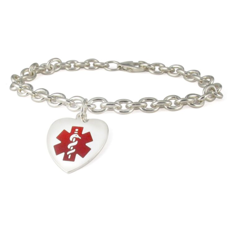 silver red heart charm bracelet