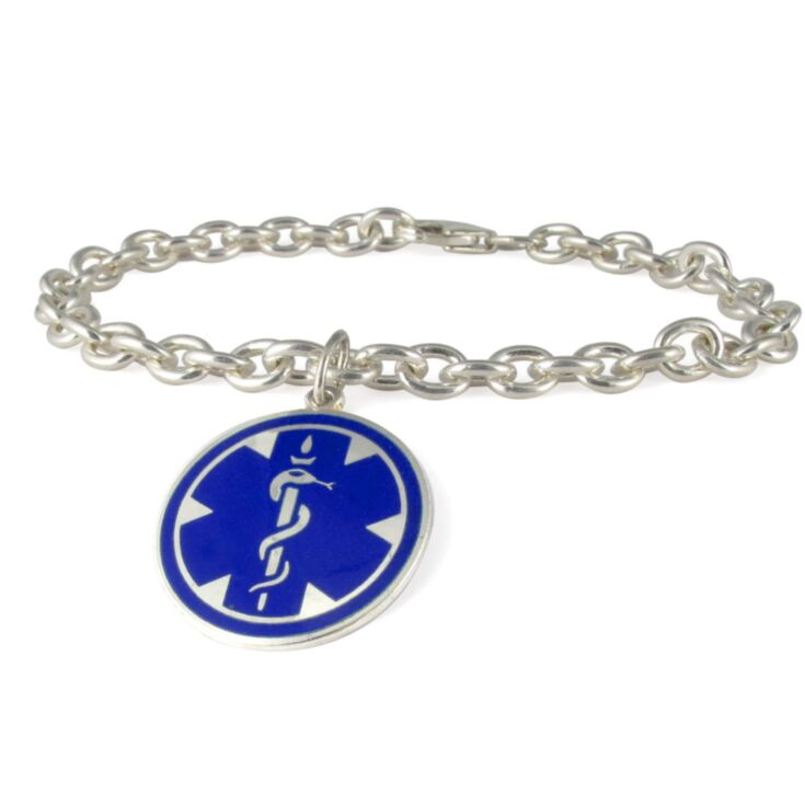 Silver Medallion Blue Charm Medical Bracelet