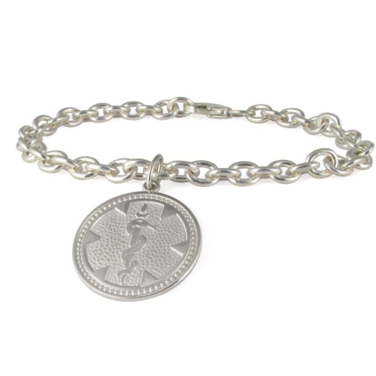 silver medallion charm medical bracelet