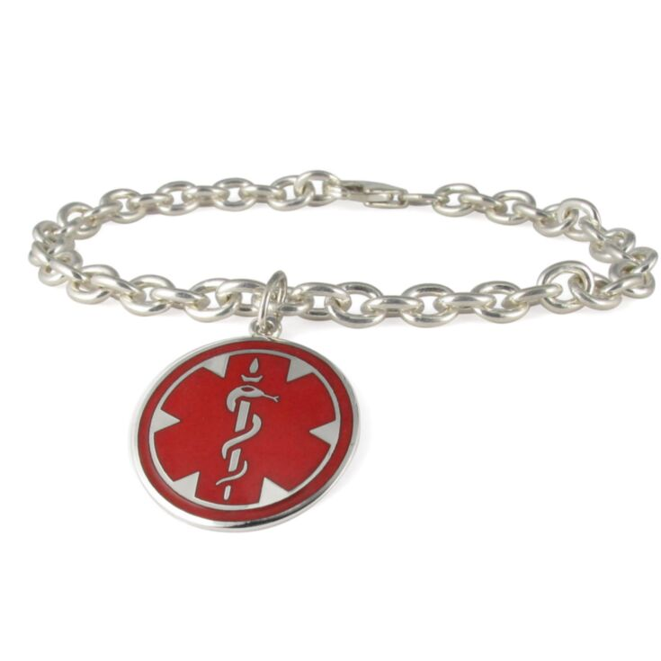 Silver Medallion Charm Medical Bracelet